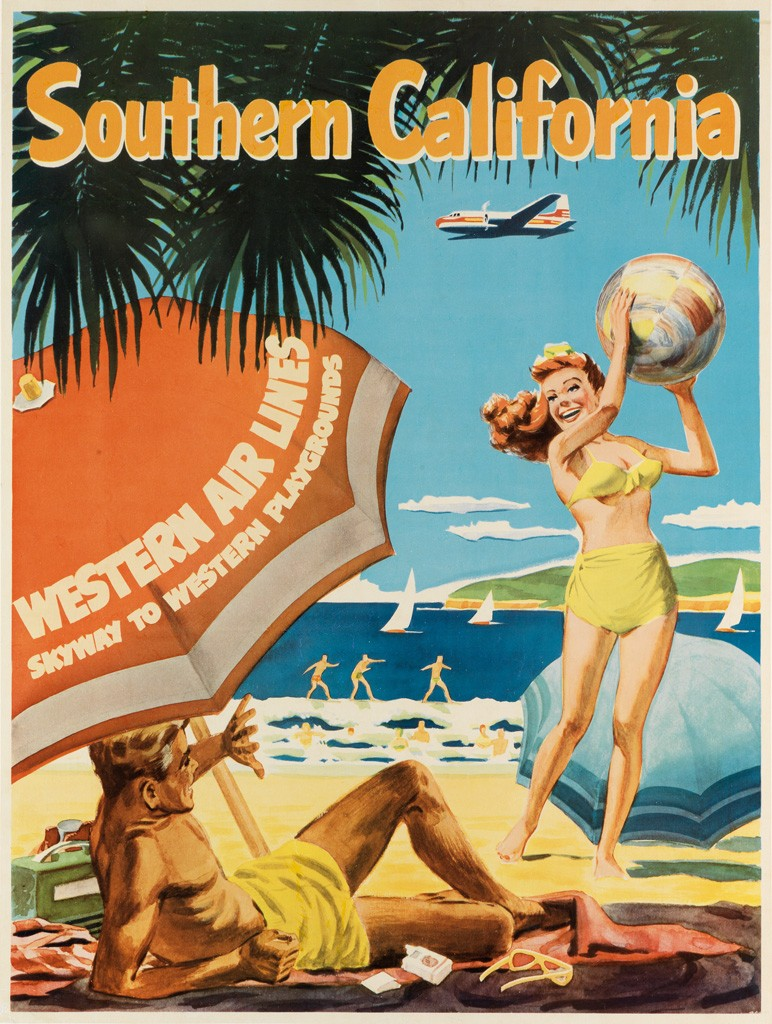 California Travel Posters - Lot 206: Southern California / Western Air Lines, designer unknown, circa 1954. Estimate $1,200 to $1,800.