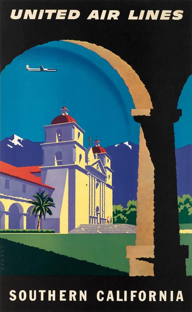 California Travel Posters - Lot 208: Joseph Binder, United Air Lines / Southern California, circa 1952. Estimate $1,200 to $1,800.