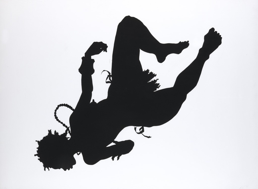 Kara Walker, African-American, linoleum cut, 1998. Sold October 6, 2016 for $37,500, a record for a work on paper by the artist.