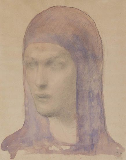 Kahlil Gibran, Potrait of a Woman, watercolor and pencil, 1916. Sold November 15, 2012 for $40,000.