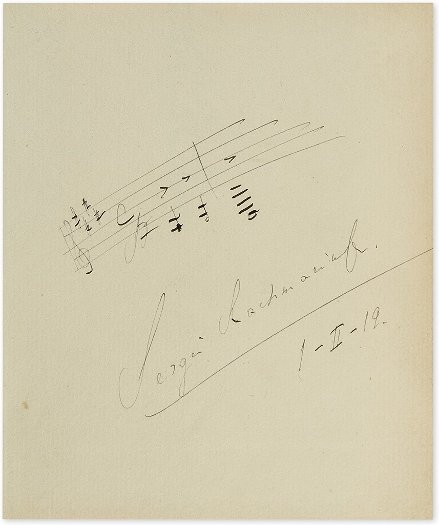 Lot 225: Sergei Rachmaninoff, Autograph Musical Quotation dated and Signed, 1 February 1919. Sold for $7,000.