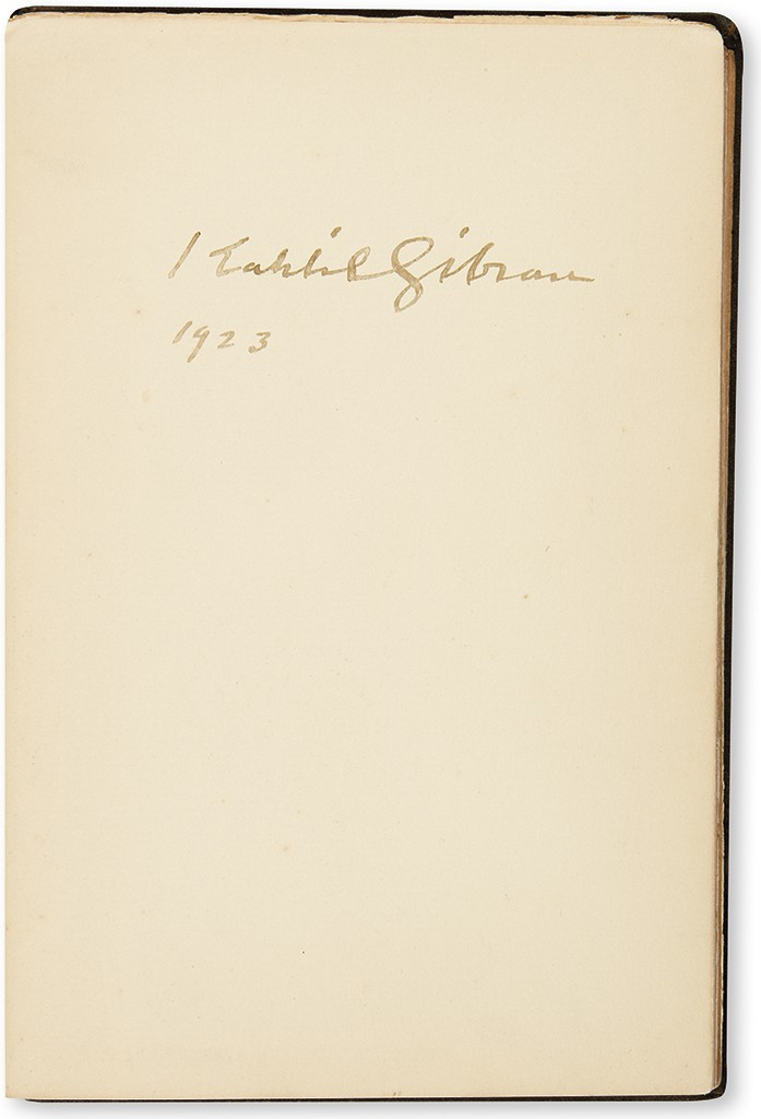 Kahlil Gibran, The Prophet, first edition signed in the year of publication.