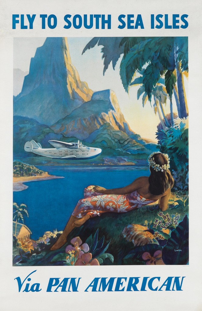 Lot 150: Paul George Lawler, Fly to South Sea Isles / Via Pan American, circa 1938. Sold for $20,000.