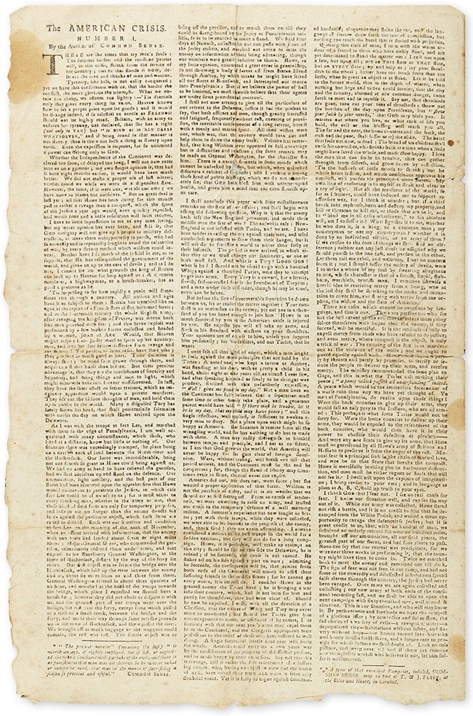Lot 25: Thomas Paine, The American Crisis, as printed in the Boston Gazette, January 13, 1777. Sold November 17 for $37,500.