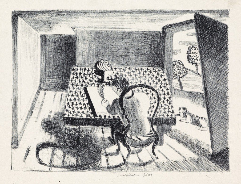 Lot 32: Louise Bourgeois, Summer, lithograph, 1941-42. Estimate $2,000 to $3,000.