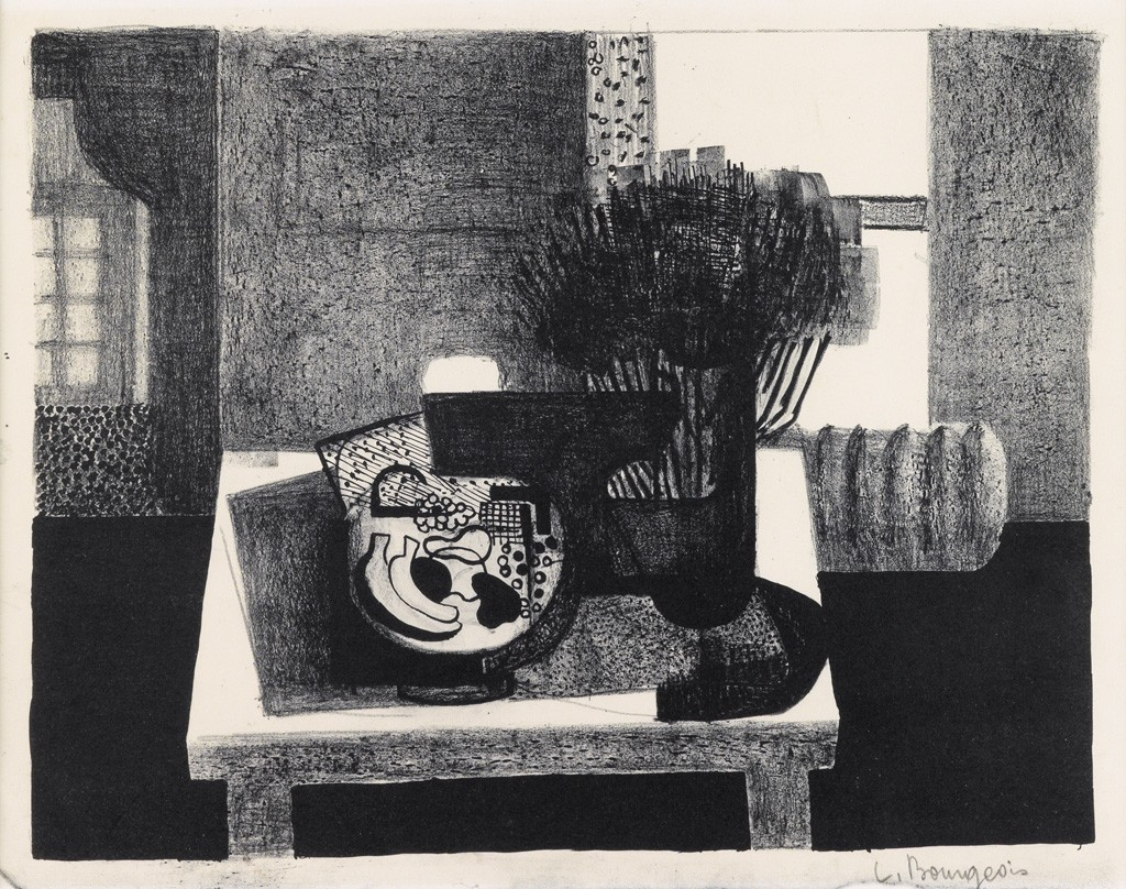 Lot 31: Louise Bourgeois, Composition, lithograph, 1940-44. Estimate $1,500 to $2,500.