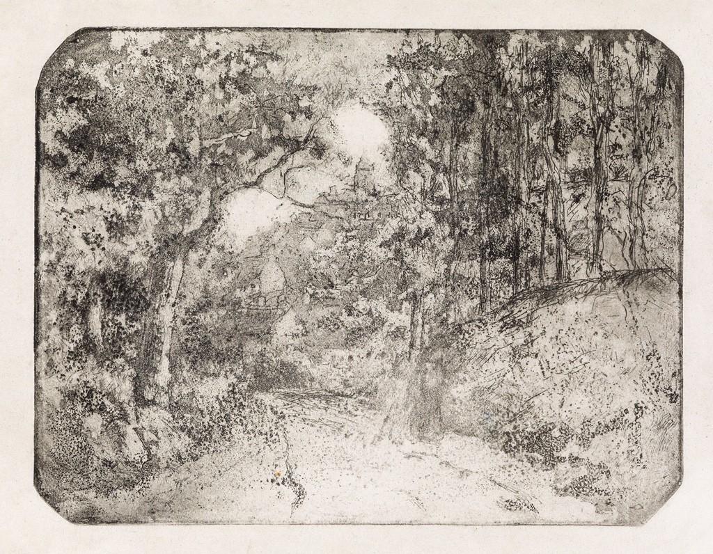 Lot 253: Camille Pissarro, Chemin sous bois à Pontoise, aquatint and etching, 1879. Sold for $40,000.