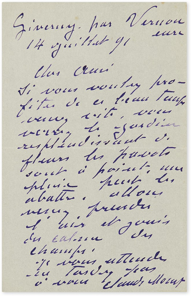 Lot 276: Claude Monet, Autograph Letter Signed to Gustave Geffroy, inviting him to Giverny, 14 July 1891.Sold for $8,125.