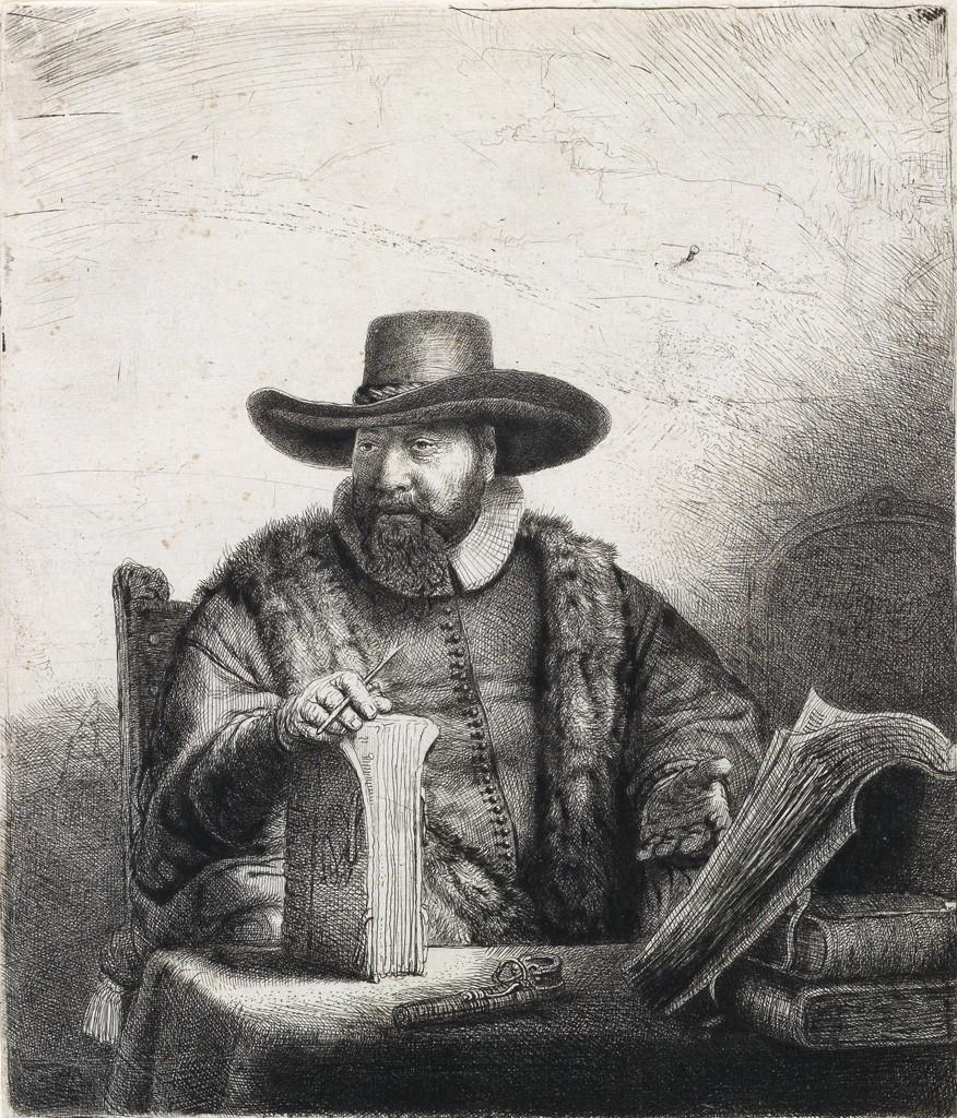 Lot 158: Rembrandt van Rijn, Cornelis Claesz Anslo, Preacher, etching and drypoint, 1641. Sold for $60,000.
