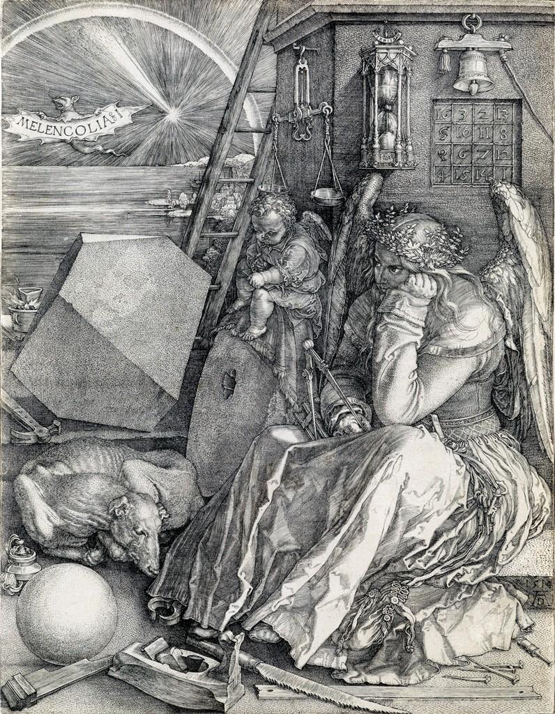 Lot 29: Albrecht Dürer, Melencholia I, engraving, 1514. Sold for $65,000.