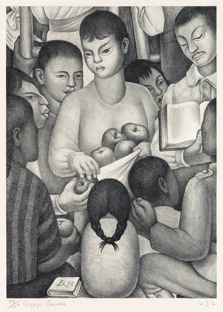 Lot 426: Diego Rivera, Fruits of Labor, lithograph, 1932. Sold for $30,000, a record for the print.