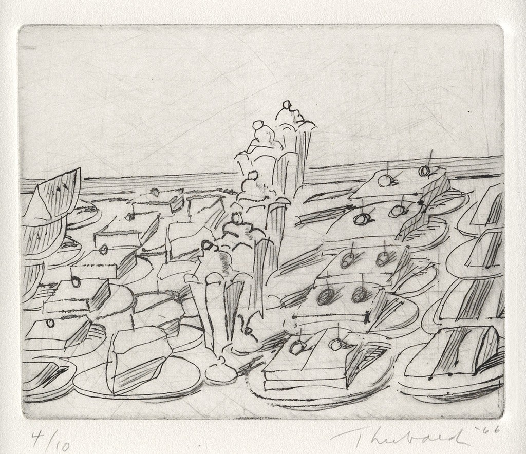 Wayne Thiebaud, Snack Counter, hardground etching and drypoint, 1966. Sold for $12,500, a record for the work.