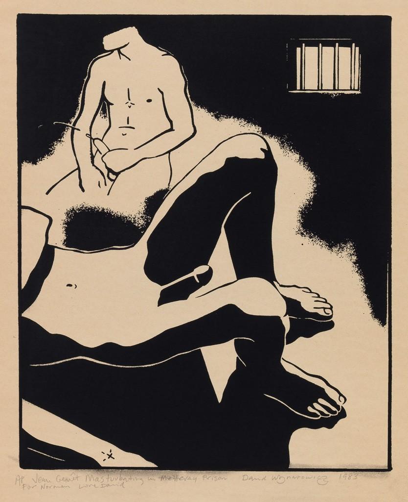 David Wojnarowicz, Jean Genet Masturbating in Metteray Prison, screenprint, 1983. Sold for $10,000, a record for the work.