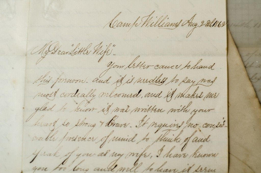 One of the first letters from Taylor to Hattie, describing his joy at calling her his wife.