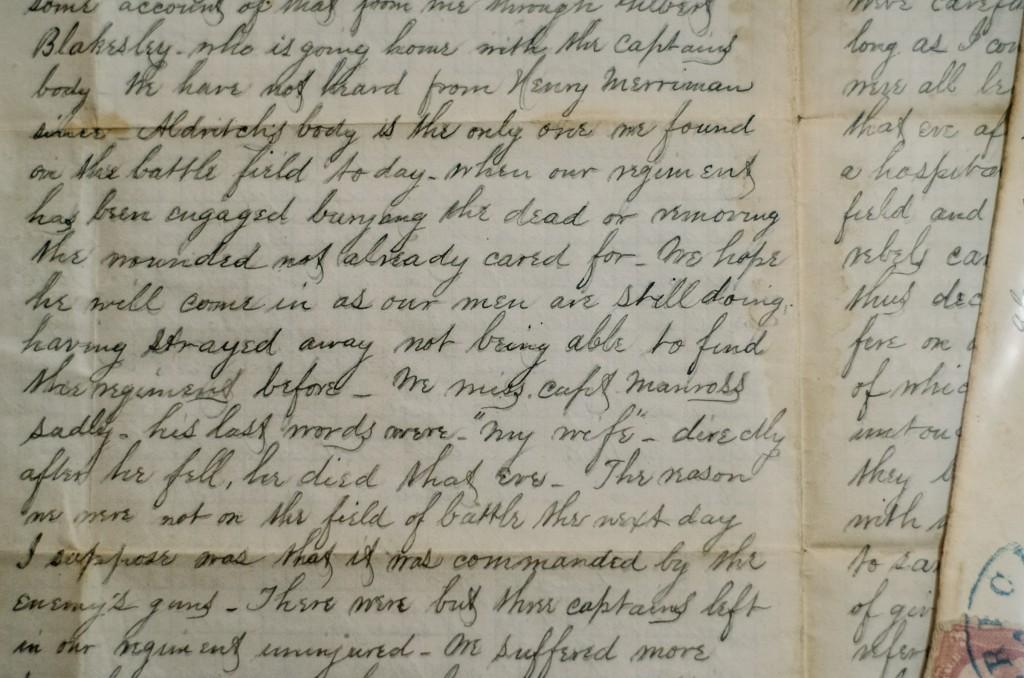 Letter from Taylor to Hattie, describing the Battle of Antietam.