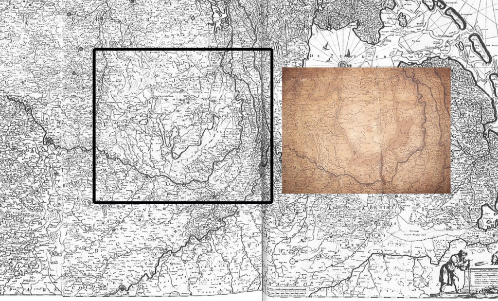 """The current map and the Leiden copy, showing the underdeveloped """"swampland."""""""
