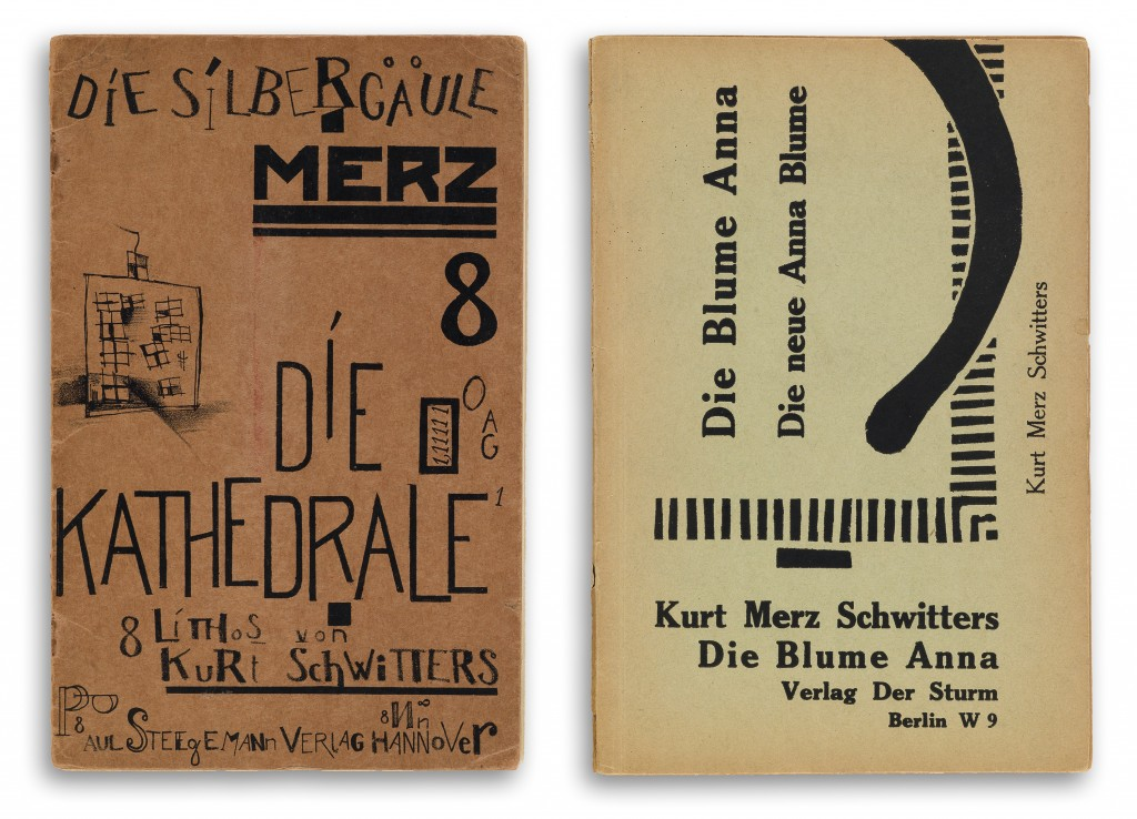 Lot 233: Kurt Schwitters, Die Silbergäule. Merz 8. Die Kathedrale, with seven lithographs, Hannover, 1920. Sold December 1, 2016 for $4,420.