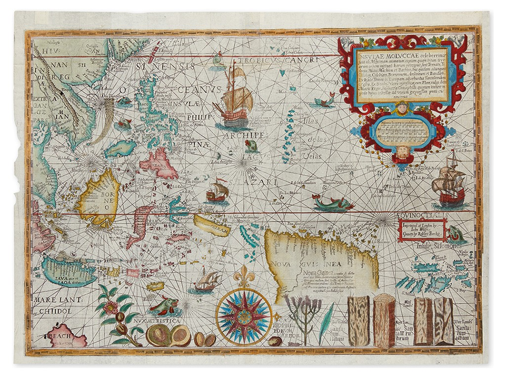 "Lot 70: Petrus Plancius, ""The Spice Map,"" double-page map of Southeast Asia, London, 1598. Sold December 8 for $31,200."