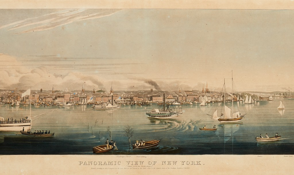 Lot 346: Robert Havell, Jr., Panoramic View of New York, aquatint with hand-coloring, first state, New York, 1840. Sold December 8 for $10,000.
