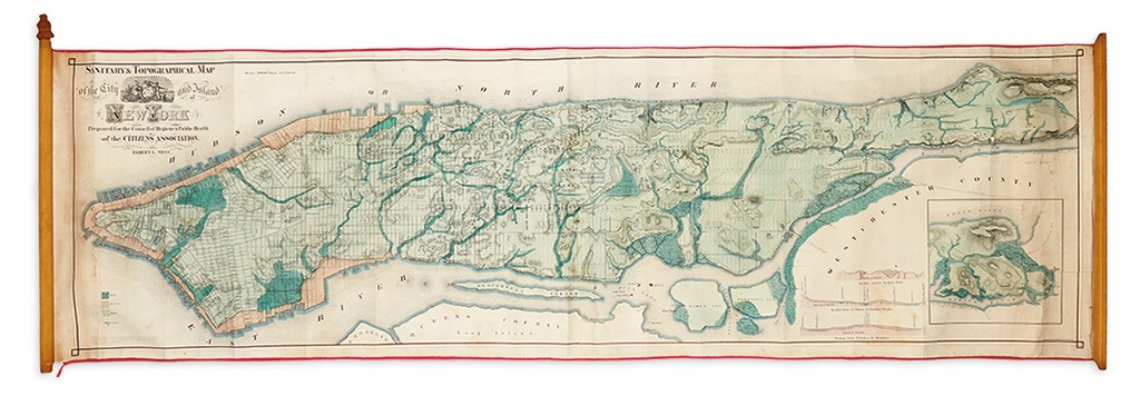 Lot 166: Egbert Viele, Sanitary and Topographical Map of… New York, hand-colored lithograph, New York, 1865. Sold December 8, 2016 for $7,250, a record for the work.