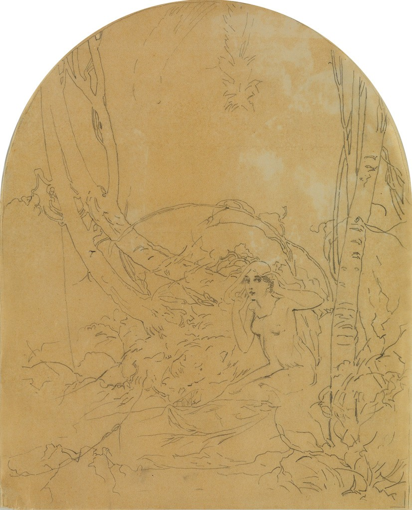 Lot 146: Le Carillon de Paques / Easter Bells, preparartory pencil sketch, circa 1896. Estimate $700 to $1,000.