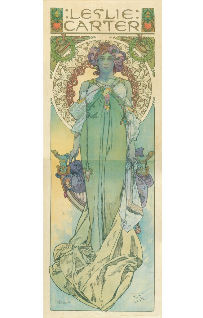 Lot 197: Alphonse Mucha, Leslie Carter, 1908. Estimate $5,000 to $7,500.