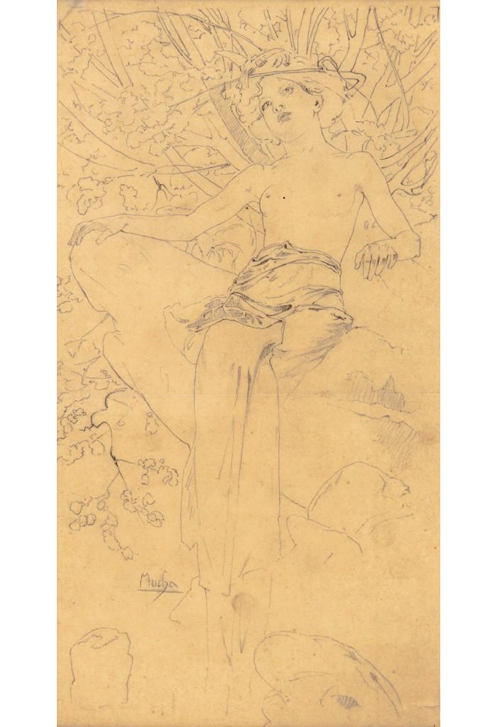 Lot 151: Preparatory pencil sketch for Documents Décoratifs, Pl. 5, circa 1902. Estimate $1,500 to $2,000.