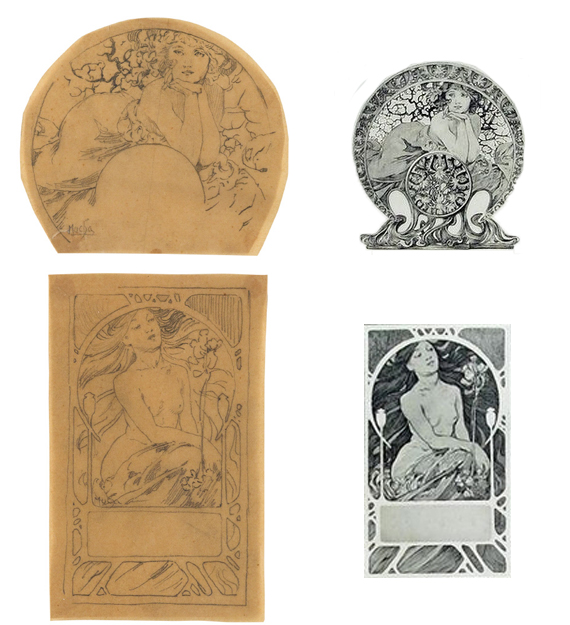 Left: Lot 148: Preparatory sketches for Documents Decoratifs, plate 68 (top) and 43 (bottom), circa 1902. Estimate $2,000 to $3,000. Right: Finished images of Plates 68 and 43. Courtesy Christian Richet.