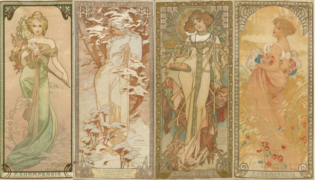Lot 135: Mucha, The Seasons, four decorative panels on silk, 1900. Sold January 26, 2017 for $35,000.