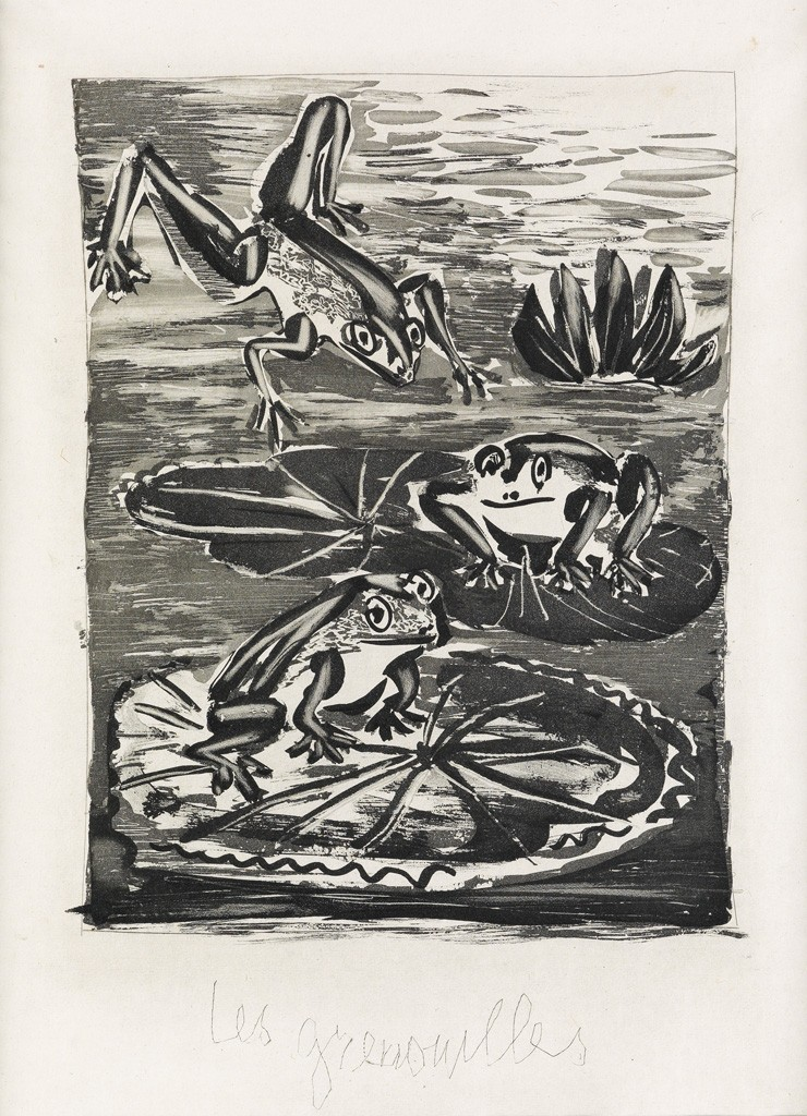 Lot 365: Pablo Picasso, Les Grenouilles, aquatint and drypoint, 1936. Estimate $1,000 to $1,500.