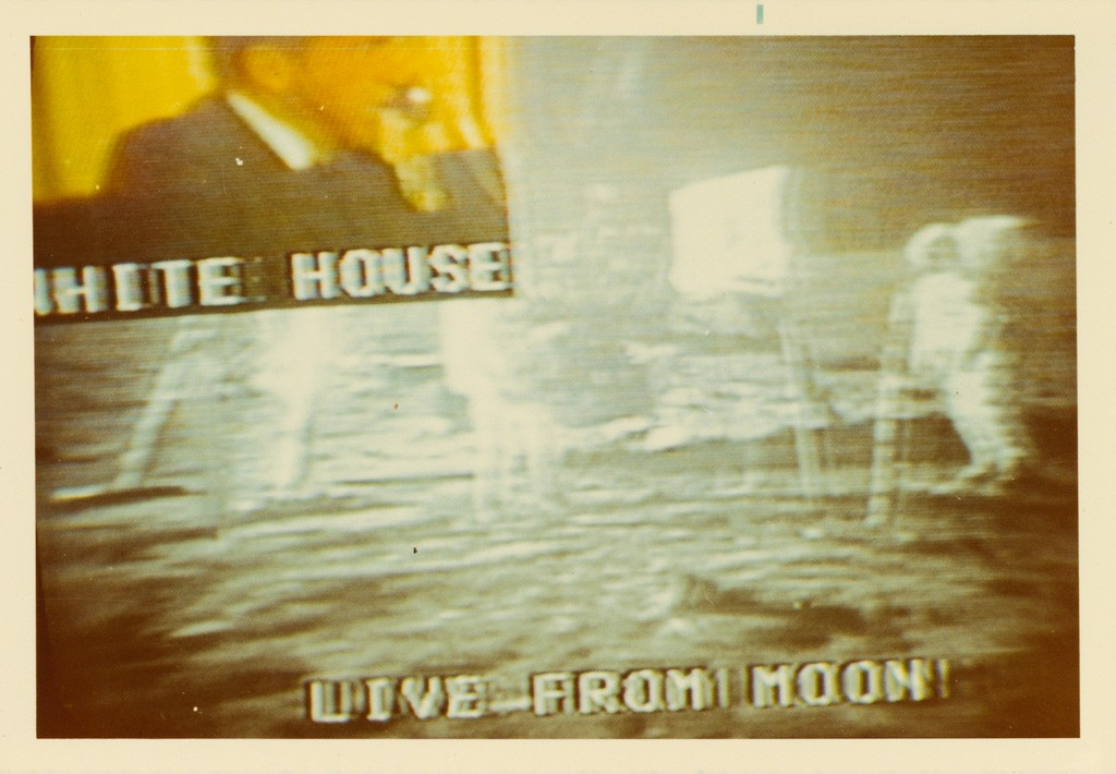 Lot 288: Collection of 67 photographs depicting the live television broadcast of the Apollo 11 moon landing, silver, chromogenic and Polaroid prints, 1969. Estimate $4,000 to $6,000.