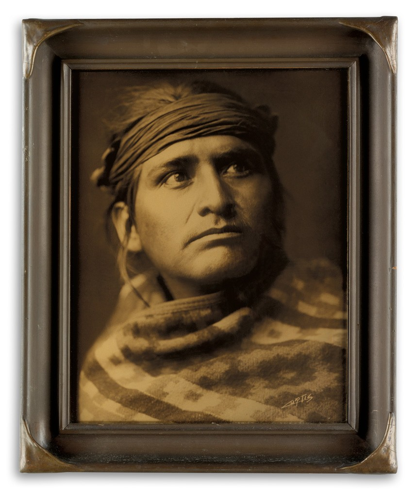 Lot 32: Edward S. Curtis, Chief of the Desert, Navajo, orotone, 1904. Sold February 14, 2017 for $23,750.
