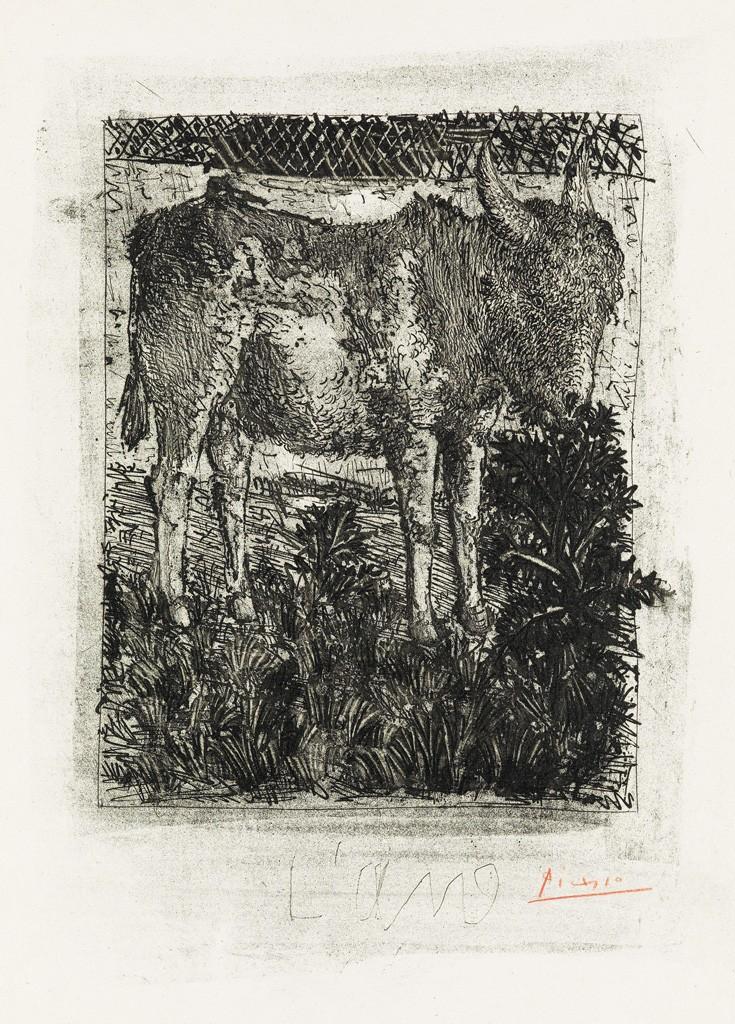 Lot 363: Pablo Picasso, L'Âne, aquatint, grattoir and drypoint, 1941-42. Estimate $7,000 to $10,000.