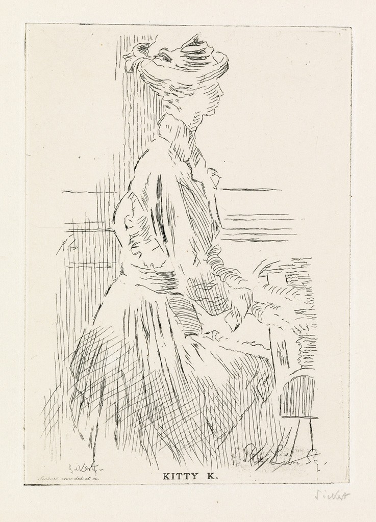 Lot 208: Walter Sickert, Kitty K., Red Lion Square, etching, circa 1915. Estimate $1,000 to $1,500.