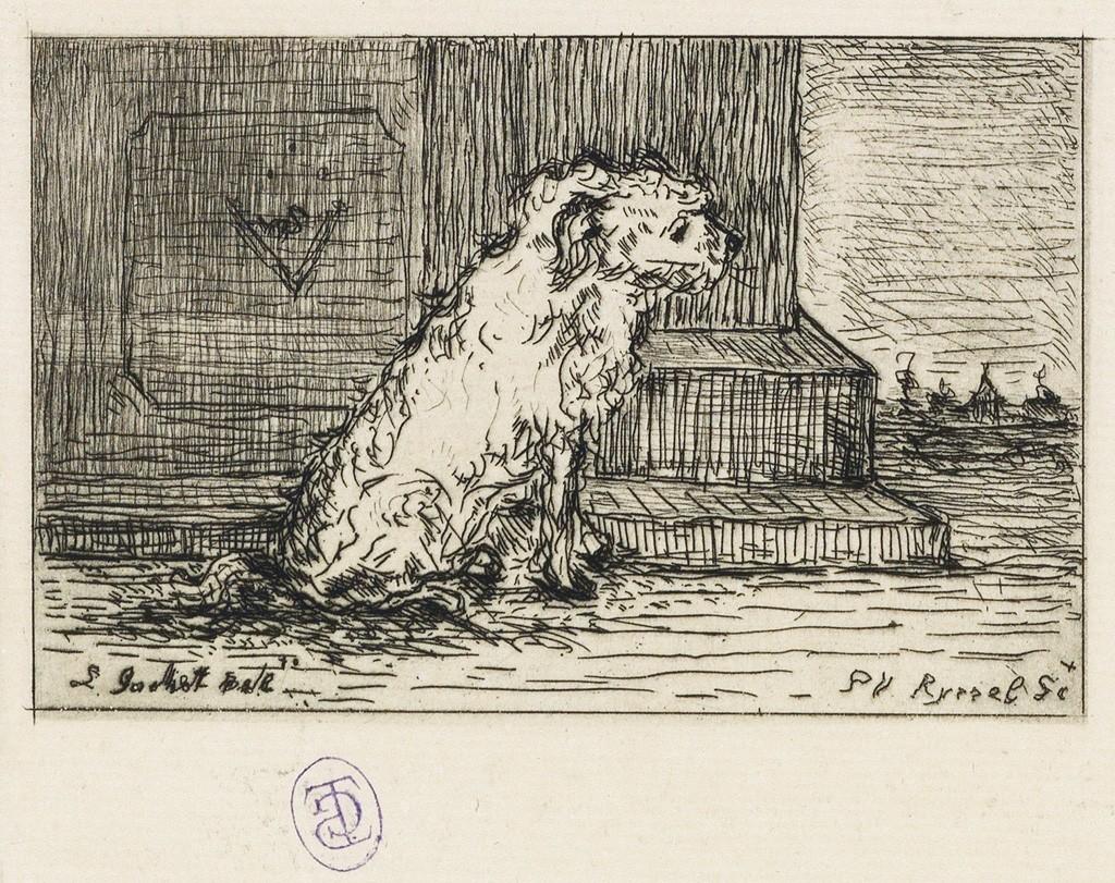 Lot 18: Paul F. Gachet, Chien, etching. Estimate $1,000 to $1,500.