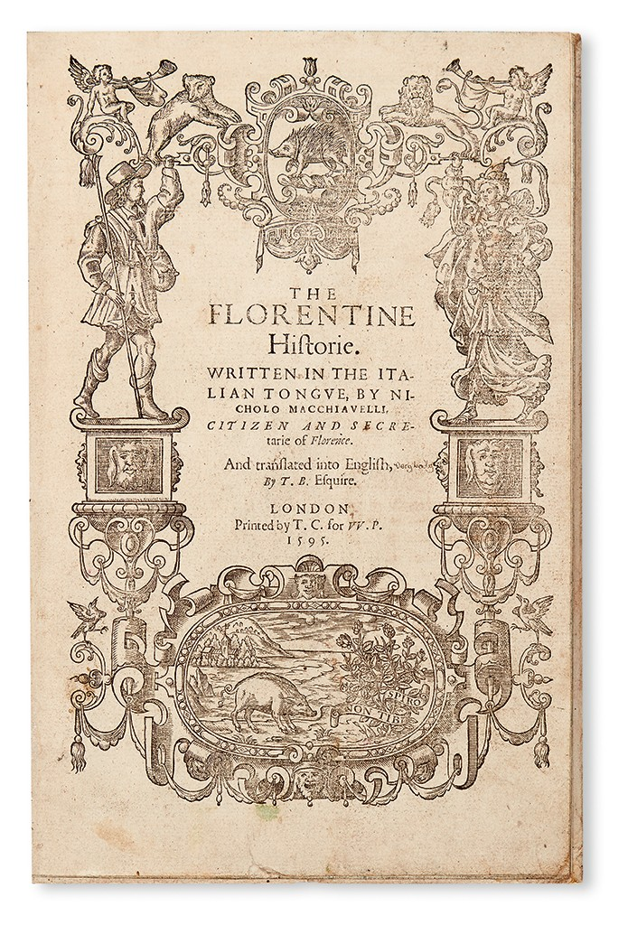 Lot 180: Niccolò Machiavelli, The Florentine Historie, London, 1595. Estimate $3,000 to $5,000.