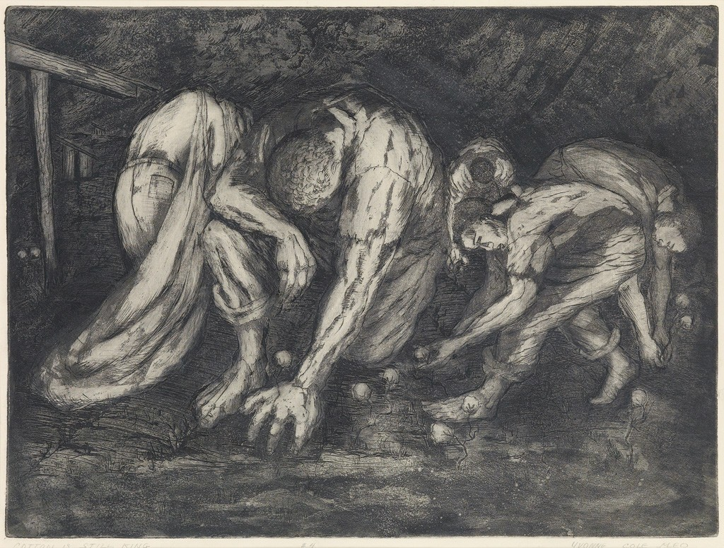 Lot 85: Yvonne Cole Meo, Cotton is Still King #4, etching, circa 1965. Estimate $1,000 to $1,500.