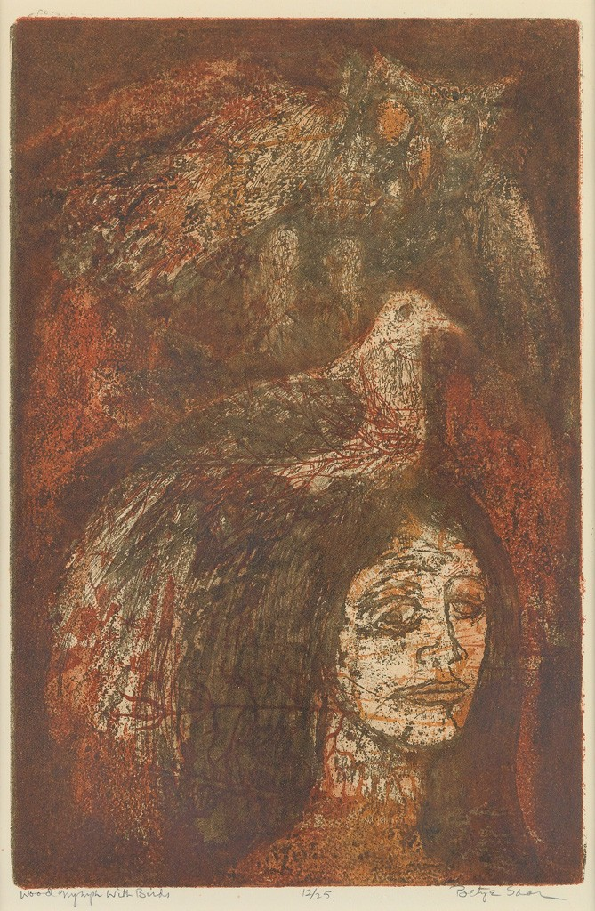 Lot 86: Betye Saar, Wood Nymph with Birds, color etching and aquatint, circa 1967-68. Estimate $1,000 to $1,500.