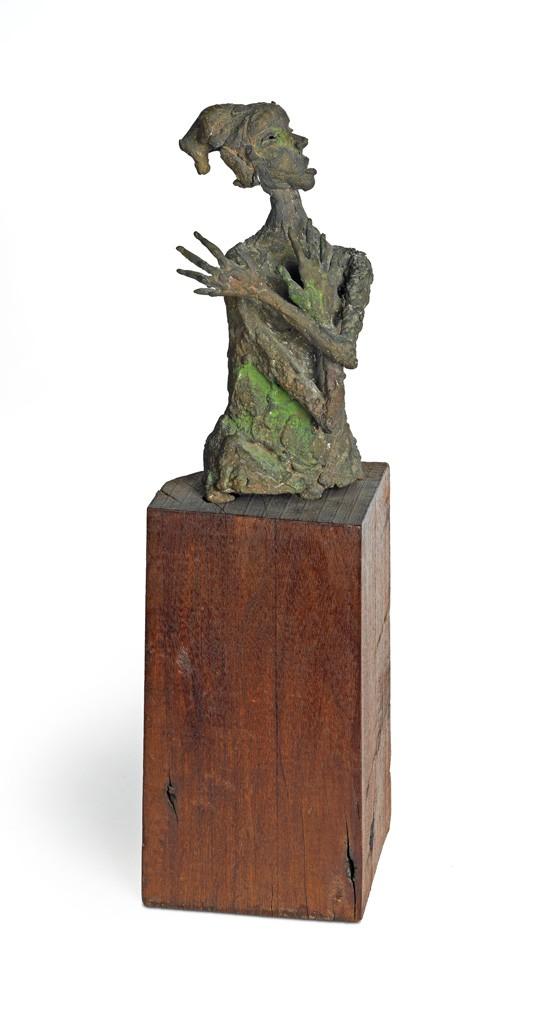 "Lot 83: Priscilla ""P'lla"" Mills, Blues Singer, welded bronze on a wood base, circa 1960. Estimate $3,000 to $5,000."