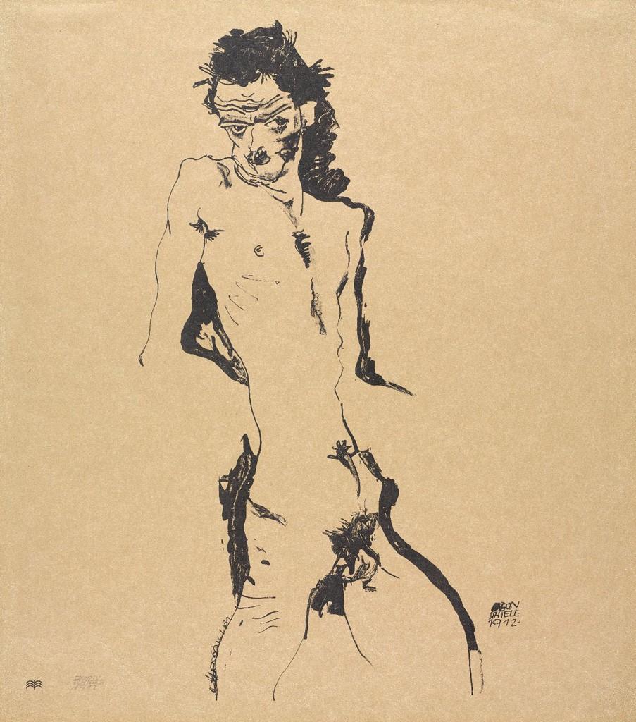 Lot 435: Egon Schiele, Männlicher Akt (Selbstbildnis I), lithograph, 1912. Sold March 2, 2017 for $30,000.