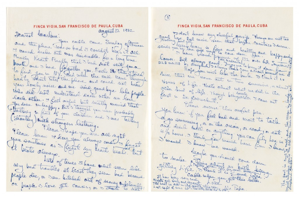 "Lot 7: Ernest Hemingway, Autograph Letter Signed ""Love / Mr. Papa,"" to Marlene Dietrich, Cuba, 1952. Estimate $20,000 to $30,000."