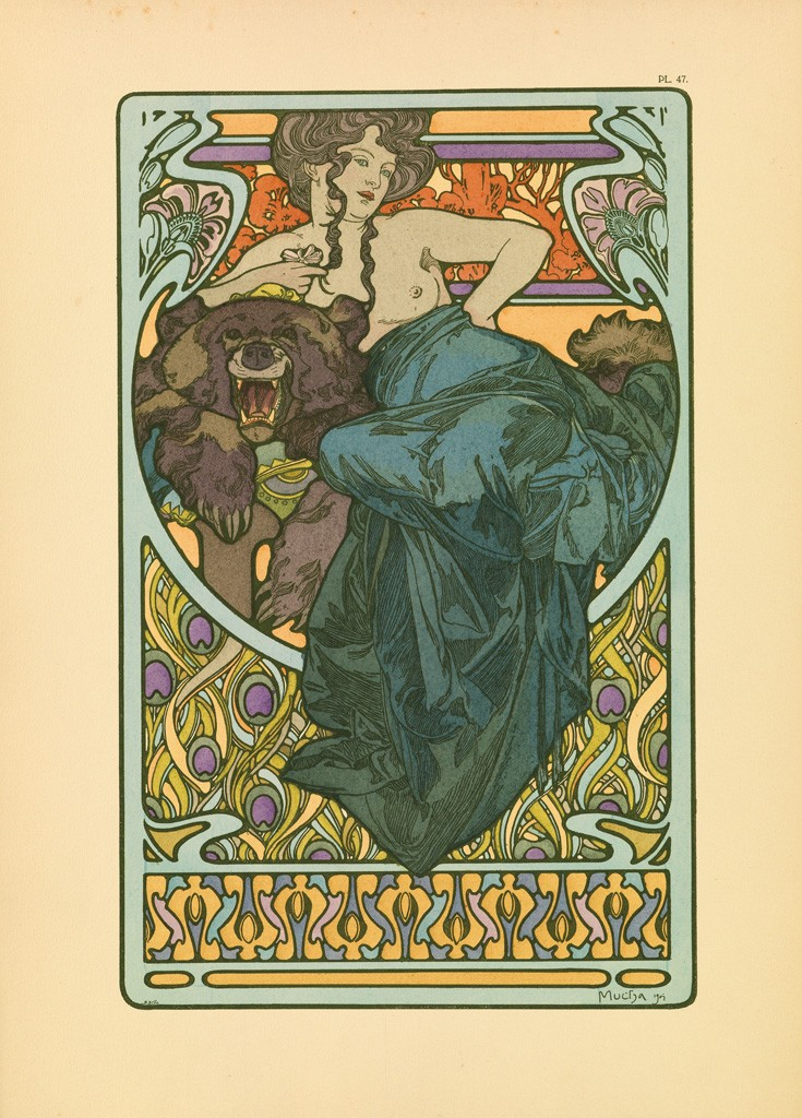 Lot 284: Alphonse Mucha, Documents Décoratifs, complete portfolio with 72 plates, 1902. Sold March 16, 2017 for $22,500.