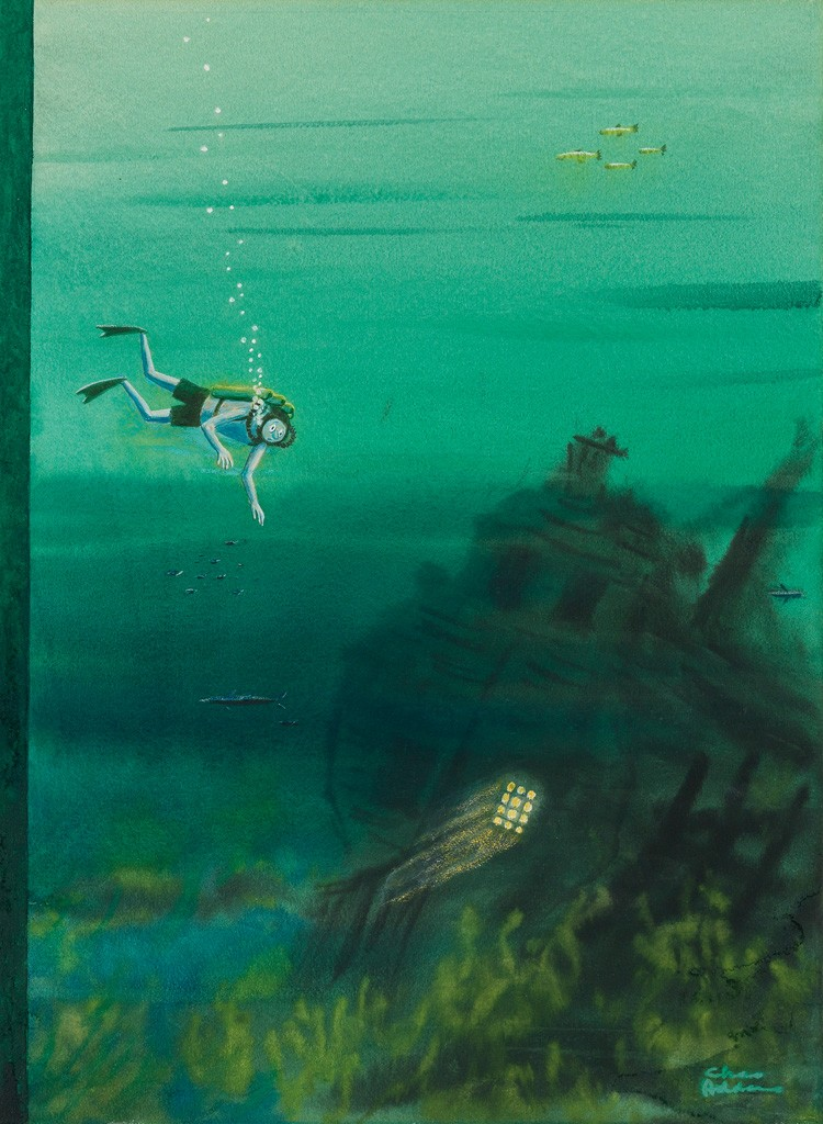 Lot 258: Charles Addams, Scuba Galleon, watercolor and gouache, cover illustration for The New Yorker, 1957. Sold March 21, 2017 for $16,250.