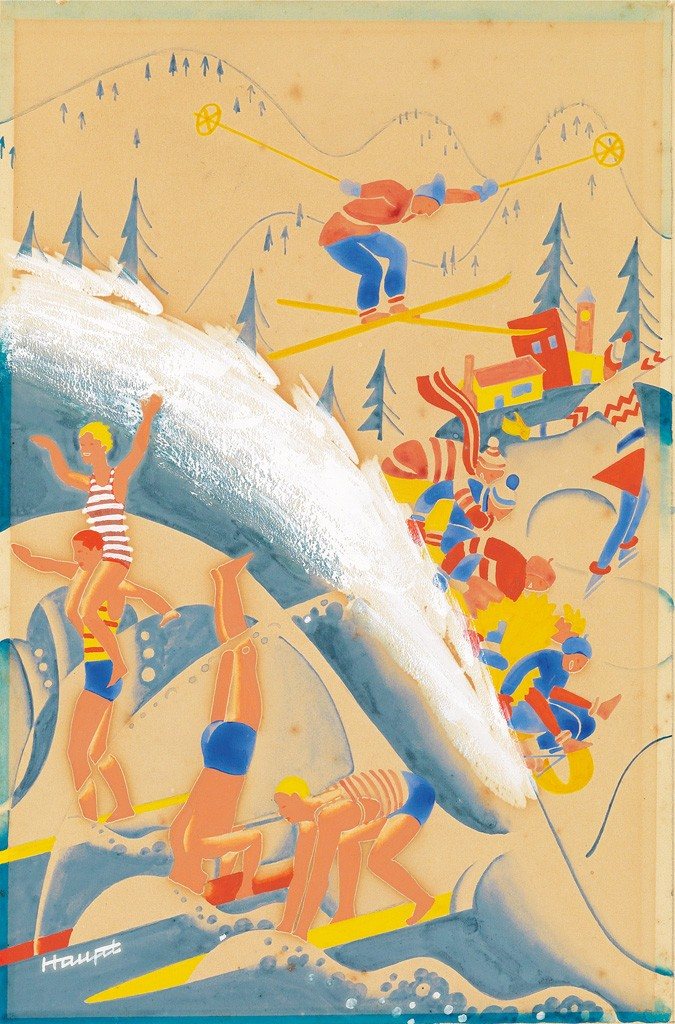Lot 266: Theodore Haupt, Summer and Winter Activities, gouache, cover illustration for The New Yorker, 1933. Sold March 21, 2017 for $1,625.