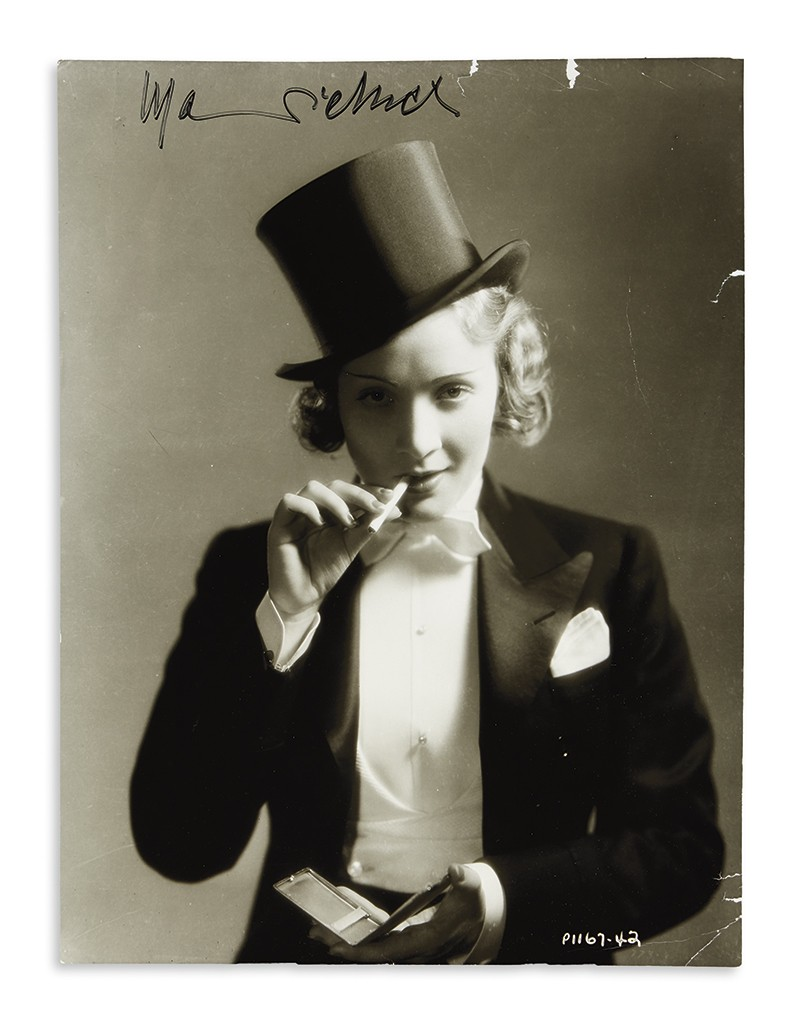Lot 21: Marlene Dietrich, group of three Photographs Signed, early 1930-40s. Estimate $600 to $900.