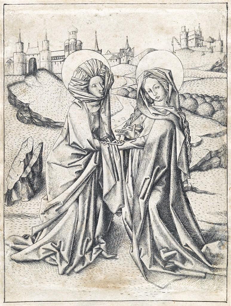 Lot 6: Master E.S., The Visitation, engraving, circa 1450. Estimate $70,000 to $100,000.
