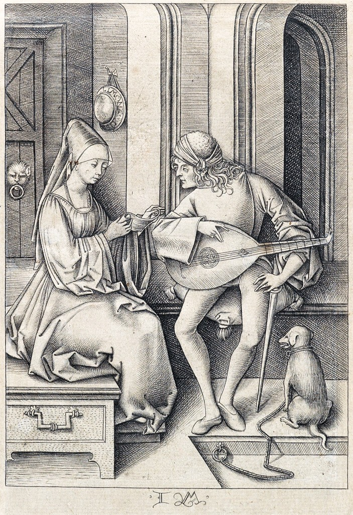 Lot 5: Israel van Meckenem, The Singer and the Lute Player, engraving, circa 1495-1500. Estimate $20,000 to $30,000.