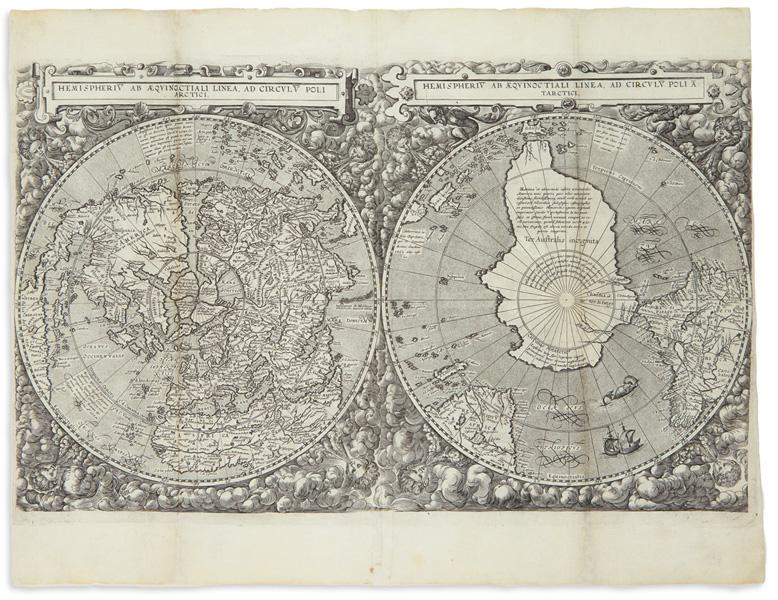 Lot 53: Cornelis De Jode, Hemispheru ab Aequinoctiali Linea, ad Circulu Poli Arctici, from Speculum Orbis Terrarum, Antwerp, 1593. Estimate $20,000 to $30,000.