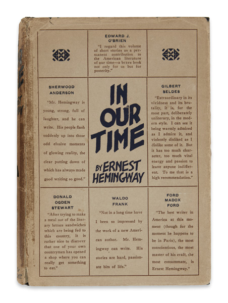 ernest hemingway, in our time, first edition