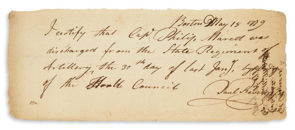 Paul Revere, autograph